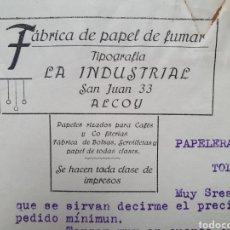 Facturas antiguas: ALCOY. FABRICA DE PAPEL DE FUMAR. JUAN RADUAN. ANTIGUA FACTURA 1918.. Lote 254039410