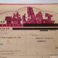 Facturas antiguas: IGNACIO ANITUA. MAQUINARIA MODERNA. EIBAR. ANTIGUA FACTURA 1934.. Lote 254447325