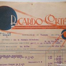 Facturas antiguas: RICARDO CORTES. CORREAS, TRANSMISIONES. ANTIGUA FACTURA 1932. BARCELONA.. Lote 254447720