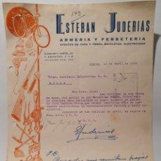 Facturas antiguas: ESTEBAN JUDERIAS, FERRETERIA ARMERIA. TERUEL. ANTIGUA FACTURA 1955.. Lote 254447805