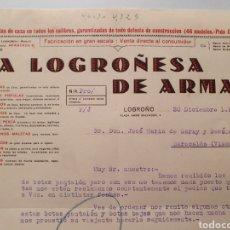 Facturas antiguas: LA LOGROÑESA DE ARMAS. LOGROÑO 1933. ANTIGUA FACTURA.. Lote 254448010