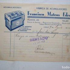 Facturas antiguas: FABRICA DE ACUMULADORES , FRANCISCO MATEO , 1939. Lote 254463225