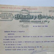 Faturas antigas: ALBERDI Y CIA. AZCOITIA. FABRICA DE SACOS, HILADOS DE YUTE. ANTIGUA FACTURA 1922.. Lote 254798360
