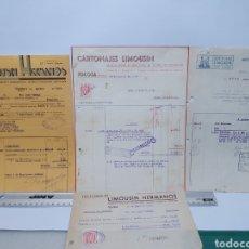 Facturas antiguas: CARTONAJES LIMOUSIN. TOLOSA. TALLERES TIPO-LITOGRAFICAS. ANTIGUAS FACTURAS AÑOS 30-40.. Lote 254801235