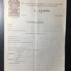 Facturas antiguas: BARCELONA L. ARBOS , GESTORA DE STANDS Y PABELLONES , EXPOSICIÓN 1929. Lote 254990785