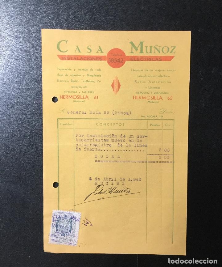 FACTURA ANTIGUA MADRID , PUBLICIDAD CASA MUÑOZ, INSTALACIONES ELÉCTRICAS . (Coleccionismo - Documentos - Facturas Antiguas)