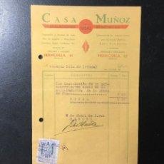 Facturas antiguas: FACTURA ANTIGUA MADRID , PUBLICIDAD CASA MUÑOZ, INSTALACIONES ELÉCTRICAS .. Lote 255338145