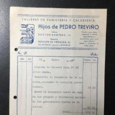 Facturas antiguas: MADRID , 1940 , HIJOS DE PEDRO TREVIÑO , FUMISTERÍA Y CALDERERÍA .. Lote 255339665