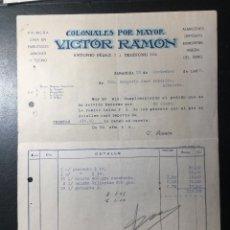 Facturas antiguas: ZARAGOZA , 1932 , VÍCTOR RAMÓN , COLONIALES , EMBUTIDOS , JAMONES,. Lote 255341955