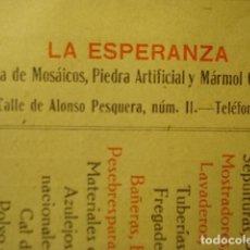 Factures anciennes: VALLADOLID PUBLICIDAD Y FACTURA - LA ESPERANZA - FABRICA MOSAICOS ETC C. ALONSO PERQUERA AÑO 1910. Lote 255475400