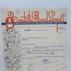 Facturas antiguas: BAUTISTA ABAD LLOPIS. ANTIGUA FACTURA 1947. PUBLICIDAD OSRAM. CACERES.. Lote 255503635