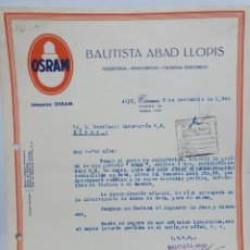 Facturas antiguas: BAUTISTA ABAD LLOPIS. ANTIGUA FACTURA. FERRETERÍA DE CACERES. 1946. PUBLICIDAD OSRAM.. Lote 255504170