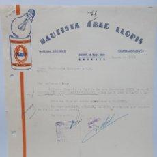 Facturas antiguas: BAUTISTA ABAD LLOPIS. ANTIGUA FACTURA CACERES 1951. PUBLICIDAD OSRAM.. Lote 255504475