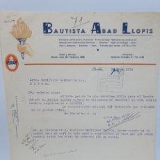 Facturas antiguas: BAUTISTA ABAD LLOPIS. ANTIGUA FACTURA 1954. FERRETERIA. PUBLICIDAD OSRAM.. Lote 255505430