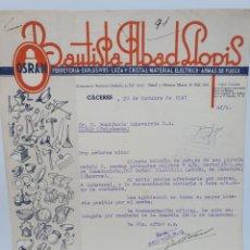 Facturas antiguas: BAUTISTA ABAD LLOPIS. ANTIGUA FACTURA 1947. CACERES. PUBLICIDAD OSRAM.. Lote 255506305