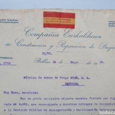 Facturas antiguas: COMPAÑIA EUSKALDUNA, CINSTRUCCOON DE BUQUES. BILBAO. ANTIGUA FACTURA 1938. FACTORIA MILITARIZADA.. Lote 255513475