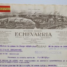 Facturas antiguas: ECHEVERRIA, BILBAO. FABRICA MILITARIZADA AL SERVICIO DE ESPAÑA. ANTIGUA FACTURA 1939.. Lote 255513905