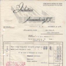Facturas antiguas: FACTURA COMERCIAL ART. CALZADO INDUSTRIAS ARMENDARIZ EN TAFALLA - 1954. Lote 255514010