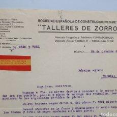 Facturas antiguas: TALLERES DE ZORROZA. FACTORIA MILITARIZADA. ANTIGUA FACTURA 1937. GUERRA CIVIL.. Lote 255514475