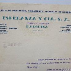 Facturas antiguas: ESPERANZA Y CIA. MARQUINA. FABRICA MILITARIZADA. ANTIGUA FACTURA 1937.. Lote 255514765