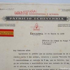 Facturas antiguas: FABRICA MILITARIZADA AL SERVICIO DE ESPAÑA. PATRICIO ECHEVERRIA. ANTIGUA FACTURA 1937.. Lote 255515275