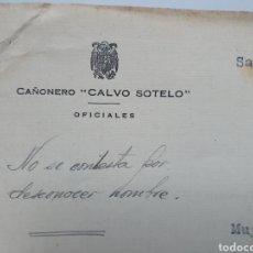 Facturas antiguas: CAÑONERO CALVO SOTELO. CARTA DIRIGIDA A LA FABRICA DE ARMAS STAR EN EIBAR.. Lote 255598565