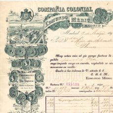 Facturas antiguas: FACTURA FABRICA DE CHOCOLATES Y CAFES COMPAÑIA COLONIAL EDMUNDO MERIC. MADRID 1891. Lote 256027565