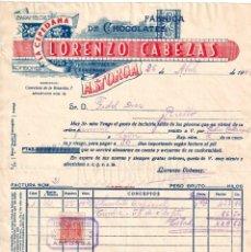 Facturas antiguas: FACTURA FABRICA DE CHOCOLATES LA CEPEDANA LORENZO CABEZAS. ASTORGA LEON 1947. Lote 256029005