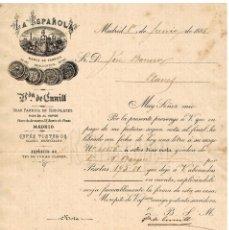 Facturas antiguas: FACTURA FABRICA DE CHOCOLATES LA ESPAÑOLA MOVIDA AL VAPOR VIUDA DE SALVADOR CUNILL. MADRID 1888. Lote 256030140