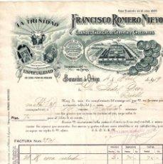 Facturas antiguas: FACTURA FABRICA CHOCOLATES LA TRINIDAD. VIUDA FRANCISCO ROMERO NIETO BENAVIDES DE ORBIGO LEON 1919. Lote 256041240