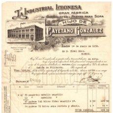Facturas antiguas: FACTURA FABRICA DE CHOCOLATES Y PASTAS LA INDUSTRIAL LEONESA CAYETANO GONZALEZ SERRANO. LEON 1936. Lote 256041840