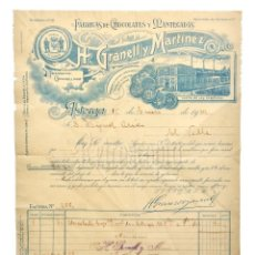Facturas antiguas: FACTURA FÁBRICA DE CHOCOLATE CHOCOLATES MANTECADAS H. GRANELL Y MARTÍNEZ. ASTORGA LEÓN 1934. Lote 256042860