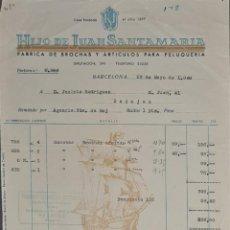 Faturas antigas: FACTURA. HIJO DE JUAN SANTAMARÍA. FÁBRICA DE BROCHAS Y ARTÍCULOS PELUQUERÍA. BARCELONA. ESPAÑA 1949. Lote 257437925
