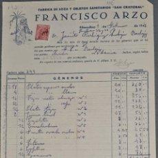 Fatture antiche: FACTURA. FRANCÍSCO ARZO. FÁBRICA DE LOZA Y OBJETOS SANITARIOS SAN CRISTOBAL. RIBESALBES. ESPAÑA 1948. Lote 257455535