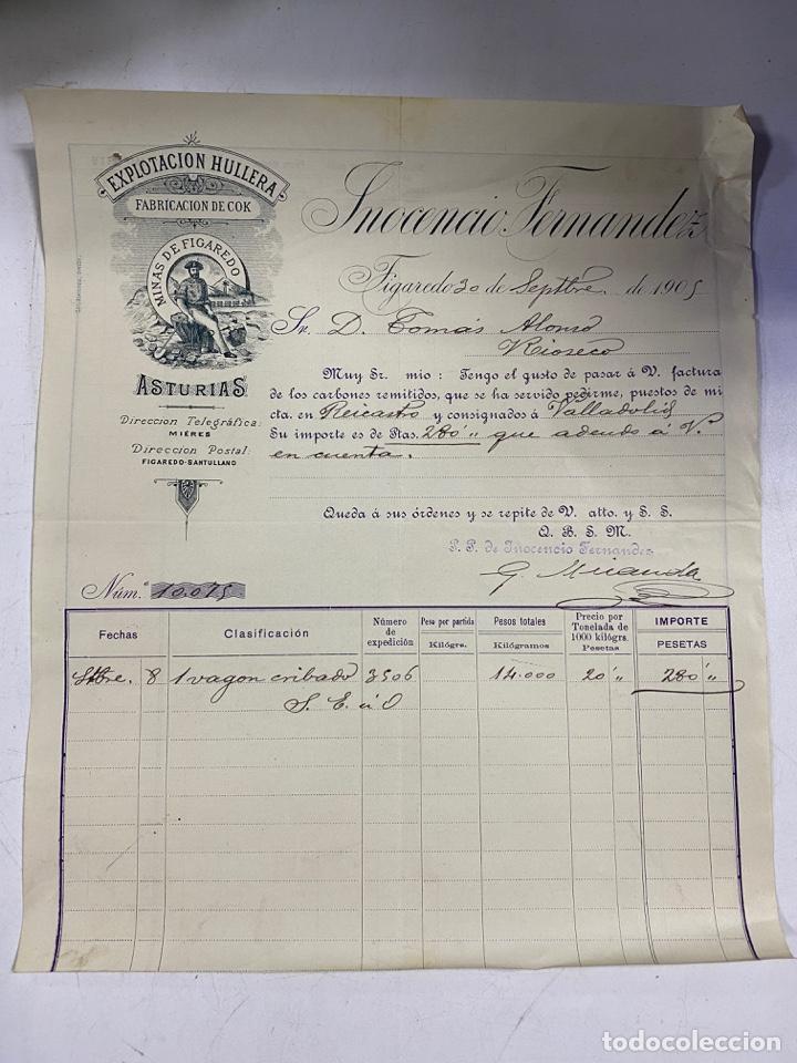 FACTURA. FABRICACION DE COK. EXPLOTACION HULLERA. INOCENCIO FERNANDEZ. FIGAREDO, 1905 (Coleccionismo - Documentos - Facturas Antiguas)
