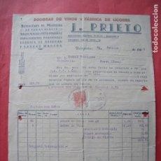 Facturas antiguas: JULIAN PRIETO.-BODEGAS DE VINOS.-FABRICA DE LICORES.-MADERAS.-FACTURA.-VALDEPEÑAS.-CIUDAD REAL.-1946. Lote 257880935