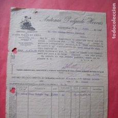 Facturas antiguas: ANTONIO DELGADO HERVAS.-VINOS FINOS DE MESA.-LOS PINETES.-FACTURA.-VALDEPEÑAS.-CIUDAD REAL.-AÑO 1943. Lote 257881155