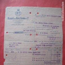 Facturas antiguas: MARQUES DEL REAL TESORO Y CIA.-JEREZ Y COÑACS.-TESORO.-FACTURA.-JEREZ DE LA FRONTERA.-AÑO 1928.. Lote 257884105