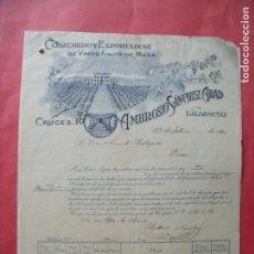Facturas antiguas: AMBROSIO SANCHEZ ABAD.-COSECHERO.-EXPORTADOR.-VINOS FINOS DE MESA.-FACTURA.-VALDEPEÑAS.-AÑO 1924.. Lote 257886025