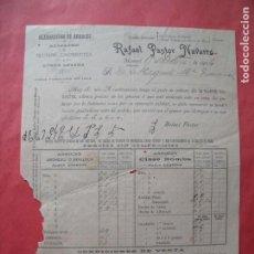 Facturas antiguas: RAFAEL PASTOR NAVARRO.-ELABORACION DE ARROCES.-ALUBIAS.-CACAHUETES.-FACTURA.-MANUEL.-VALENCIA.-1914.. Lote 257887920