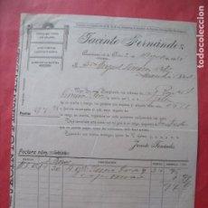 Facturas antiguas: JACINTO FERNANDEZ.-CEREALES.-VINOS.-AZAFRANES.-ANIS.-FACTURA.-QUINTANAR DE LA ORDEN.-TOLEDO.-1914.. Lote 257888085