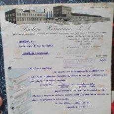 Factures anciennes: PRADERA HERMANOS. FUNDICION. ZARATAMO. VIZCAYA. FACTURA AÑO 1956.. Lote 257890040