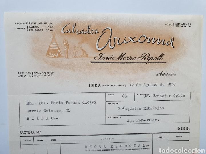 JOSE MORRO RIPOLL. CALZADOS ARIXOMD. INCA. MALLORCA. FACTURA 1958. (Coleccionismo - Documentos - Facturas Antiguas)