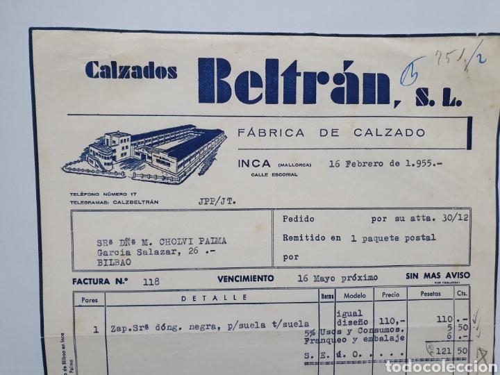 CALZADOS BELTRAN. FABRICA CALZADO. INCA. MALLORCA. FACTURA 1955. (Coleccionismo - Documentos - Facturas Antiguas)