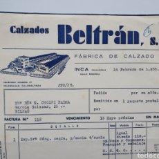 Faturas antigas: CALZADOS BELTRAN. FABRICA CALZADO. INCA. MALLORCA. FACTURA 1955.. Lote 257971935