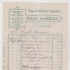 Fatture antiche: DROGUERÍA MEDICINAL E INDUSTRIAL DE ISAAC ALMEIDA. PAMPLONA, 1916 NAVARRA. Lote 257986160