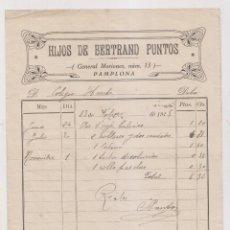 Fatture antiche: FACTURA. HIJOS DE BERTRAND PUNTOS. PAMPLONA, 1915. NAVARRA. Lote 257987395