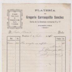 Fatture antiche: FACTURA. PLATERÍA DE GREGORIO CARRASQUILLA. PAMPLONA, 1916 NAVARRA. Lote 257988205
