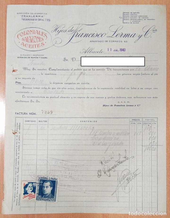 FACTURA COLONIALES SALAZONES ACEITES HIJOS DE FRANCISCO LERMA, ALBACETE 1940 (Coleccionismo - Documentos - Facturas Antiguas)