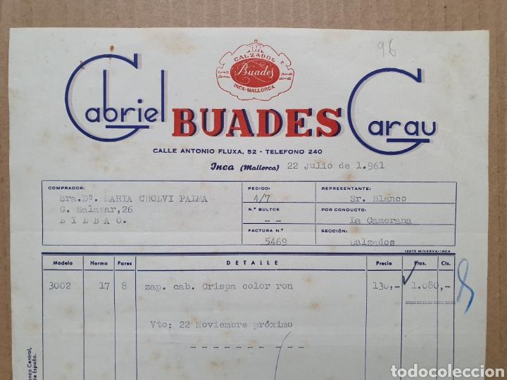 GABROEL BUADES GARAU. INCA. MALLORCA. CALZADOS BUADES. FACTURA 1961. (Coleccionismo - Documentos - Facturas Antiguas)